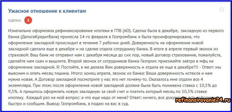 Отзыв клиента Газпромбанка о рефинансировании ипотеки